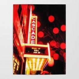 Rainy Night at the Theatre Market Street Redding California Poster