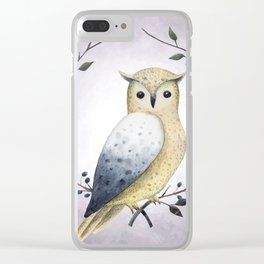 A Long Eared Owl On A Laurel Clear iPhone Case
