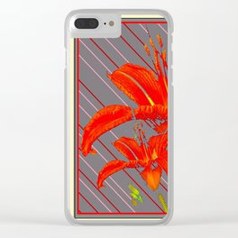 Red Abstracted Day Lilies On Grey Striped Art Clear iPhone Case