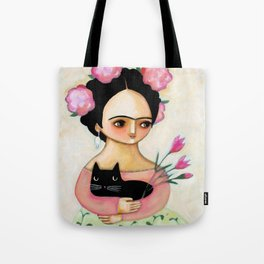 Frida with Black Cat and Tulips painting by Tascha Tote Bag