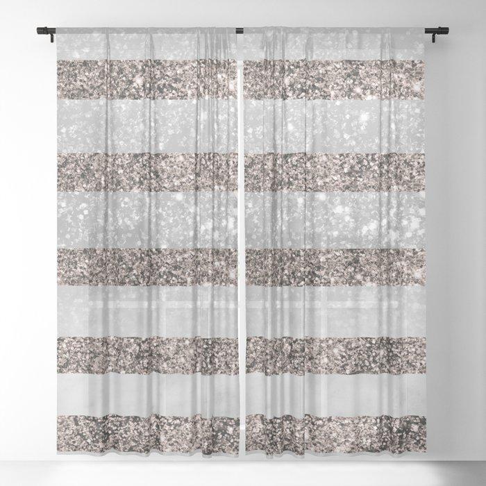 White Marble Rose Gold Glitter Stripe Glam #2 #minimal #decor #art #society6 Sheer Curtain
