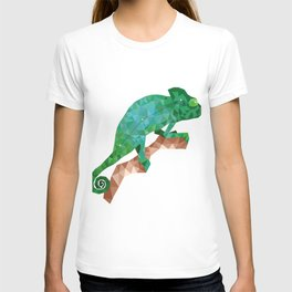 Geometric colorful figure art of green chameleon in polygonal style on white background T-shirt