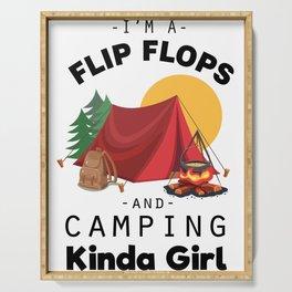 I Am A FlipFlops And Camping Kinda Girl Men Women T Shirt Cute Funny Girls Retreat Adventure Tee Serving Tray