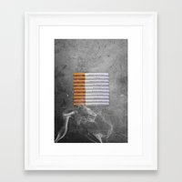 cigarettes Framed Art Prints featuring Cigarettes by Marcelo Sazo