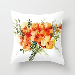 Californian Poppies, California Floral art soft colors Throw Pillow