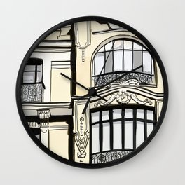 Baroque Architecture Drawing in Madrid Spain Wall Clock
