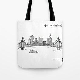 Ink Sketch Pittsburgh Skyline Tote Bag