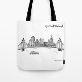 Ink Sketch Pittsburgh Skyline Tote Bag