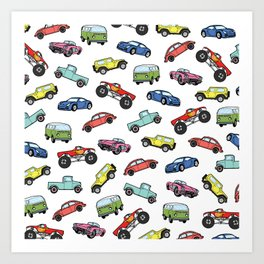 Cute Colorful Toy Car Illustration Pattern Art Print