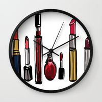 lipstick Wall Clocks featuring Lipstick by Kayla Phan
