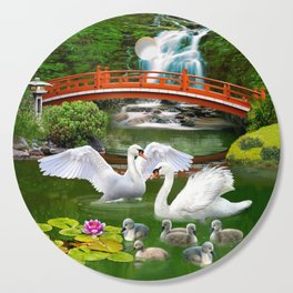 Swans and Baby Cygnets in an Oriental Landscape Cutting Board