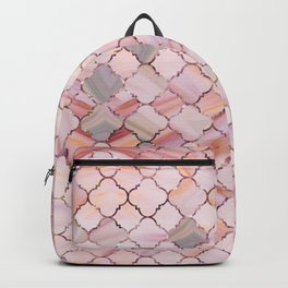 Moroccan Pattern in Marble and quartz crystal Texture Backpack