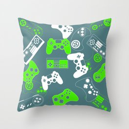 Video Games green on grey Throw Pillow