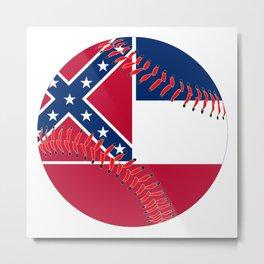 Mississippi Flag Baseball Metal Print