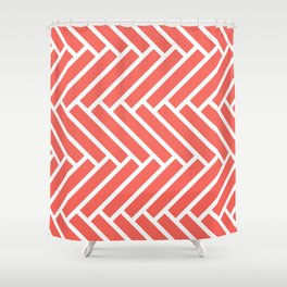 Bright coral and white herringbone pattern Shower Curtain