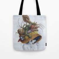 hat Tote Bags featuring Hat by Veronica Casas
