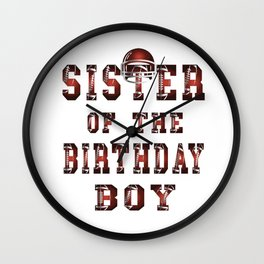 Sister Of The Birthday Boy American Football Kid Party print Wall Clock