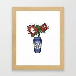 Furphy - Australian Beer with Florals - King Protea Framed Art Print