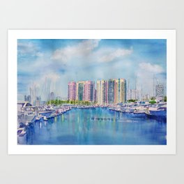 Aqua Towers and Marina in Long Beach Art Print
