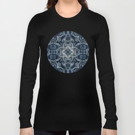 Indigo blue dirty denim textured boho pattern Long Sleeve T-shirt
