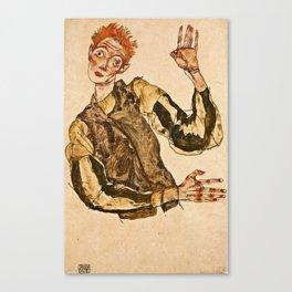 Egon Schiele - Self Portrait With Striped Armlets Canvas Print