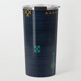 Cactus Silk Pattern in Navy Blue Travel Mug