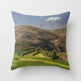 Inca garden and active volcano Misti in Arequipa Peru Throw Pillow