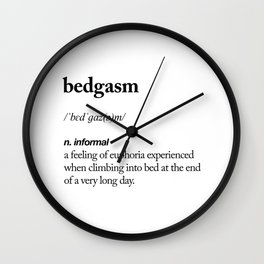 Bedgasm black and white contemporary minimalism typography design home wall decor bedroom Wall Clock