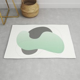 Green and Black Flowing Shapes Rug