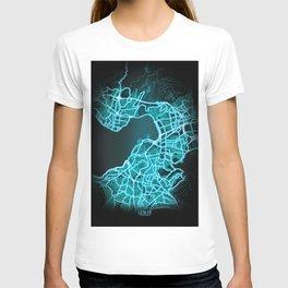 Izmir, Turkey, Blue, White, Neon, Glow, City, Map T-shirt