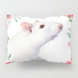 White Rat with Flowers Watercolor Floral Pattern Animal Pillow Sham