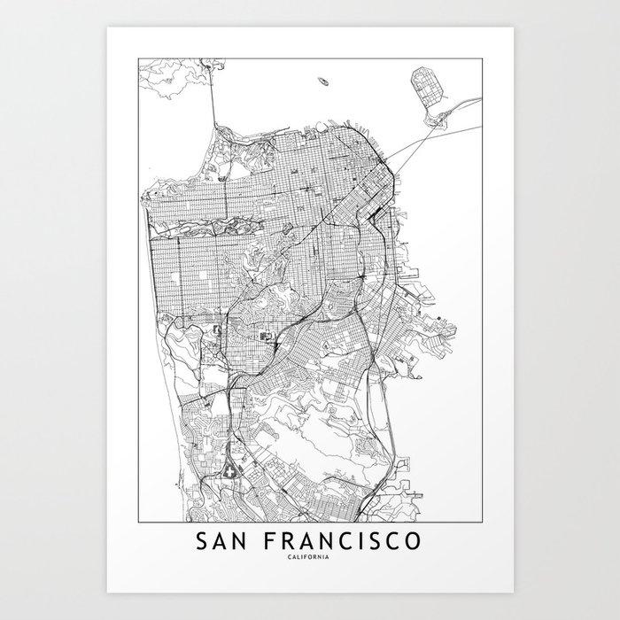 San Francisco White Map Kunstdrucke
