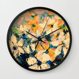 White Blue Orange Knife Painted Digital Floral Wall Clock