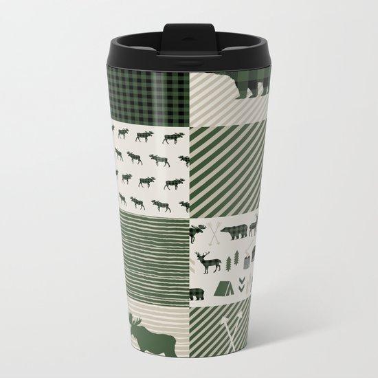 Camping hunter green plaid quilt cheater quilt baby nursery cute pattern bear moose cabin life Metal Travel Mug