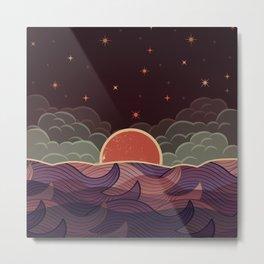 Ocean at Night Metal Print