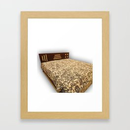 indian indigo print kantha bedcover handmade floral kantha bedspread  Framed Art Print