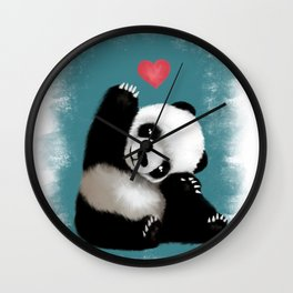 Panda Love (Color) Wall Clock