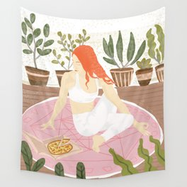 Yoga + Pizza Wall Tapestry