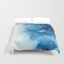 Blue Tides - Alcohol Ink Painting Duvet Cover