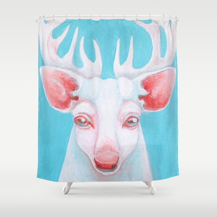 Portrait of a White Stag Shower Curtain