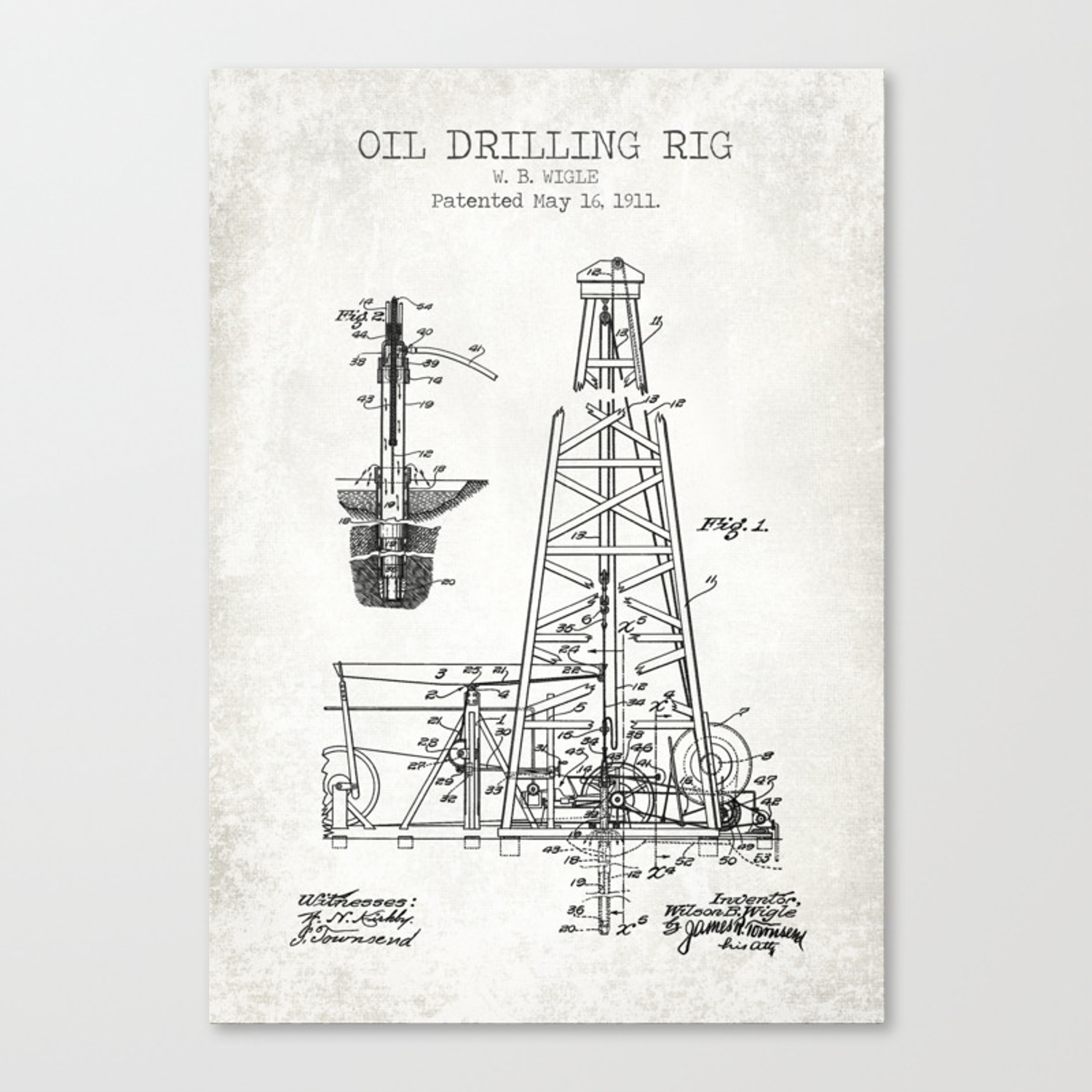 Oil Drilling Rig Canvas Print