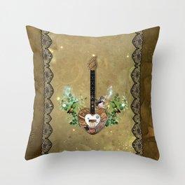 Music, steampunk heart guitar Throw Pillow