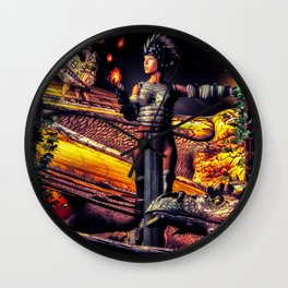 A Girl and Her Dragons Wall Clock