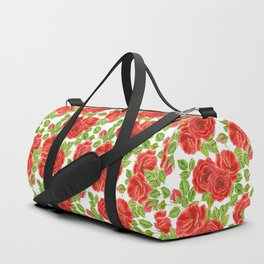 Red roses watercolor seamless pattern Duffle Bag