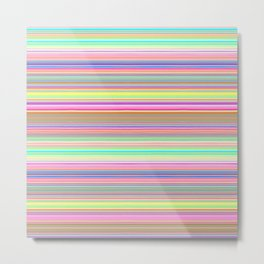 Bright Pastel Stripes Metal Print