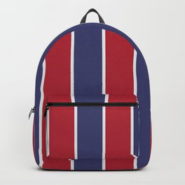 Large Red White and Blue USA Memorial Day Holiday Vertical Cabana Stripes Backpack