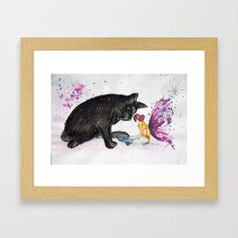 Fairy cat Watercolour Framed Art Print