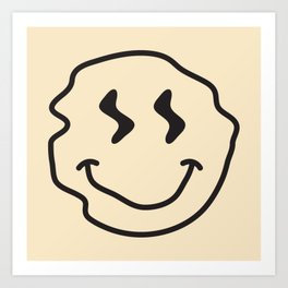 Wonky Smiley Face - Black and Cream Art Print