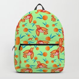 Little pretty swallows birds, bright lovely juicy ripe oranges vintage retro lime green pattern Backpack
