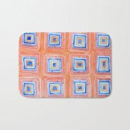 Twelve Red and Blue Melted Together Squares Bath Mat